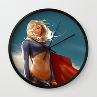 supergirl Wall Clocks featuring Supergirl by abraaolucas