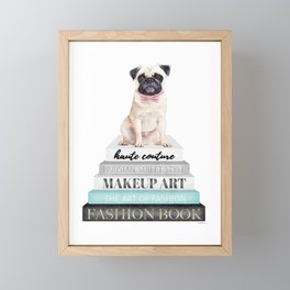 Pug, Books, Fashion books, Gray, Teal, Fashion, Fashion art, fashion poster, fashion wall art, Framed Mini Art Print