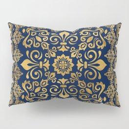 Oriental Damask Ornament - Gold on dark blue #1 Pillow Sham