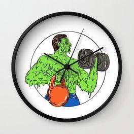 Athlete Fitness Dumbbell Kettlebell Grime Art Wall Clock
