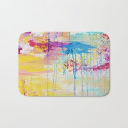 BRIGHTER DAYS - Beautiful Soft Pastel Colours Painting Rain Cloud Sunny Sky Abstract Nature Acrylic Bath Mat