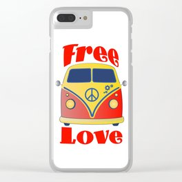 Free Love , festival fantasy with Woodstock in mind Clear iPhone Case