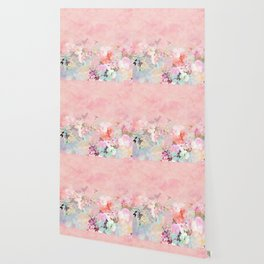 Modern blush watercolor ombre floral watercolor pattern Wallpaper