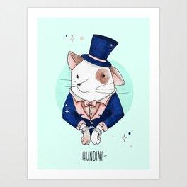 Hundini - A Dog Doing Tricks Art Print