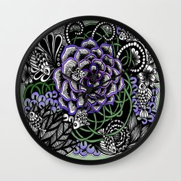 Fishes on a Coral Reef Greens - Zentangle Illustration Wall Clock