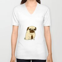 pugs V-neck T-shirts featuring Pugs Not Drugs by gemma correll
