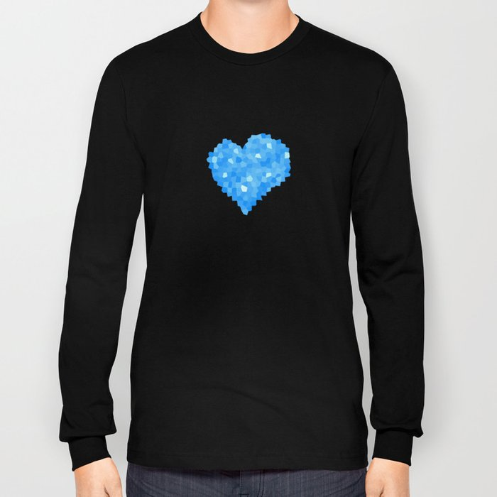 Winter Blue Crystallized Abstract Heart Long Sleeve T-shirt