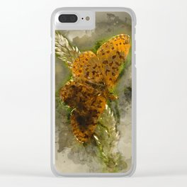 "Orange butterfly ""Boloria selene"" - watercolor Clear iPhone Case"