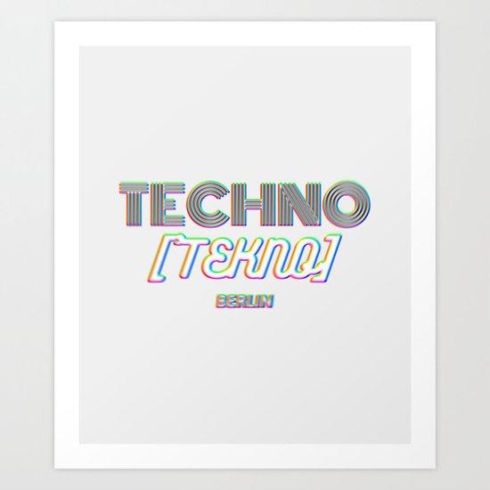 Techno Tekno Berlin (Glitch) Art Print