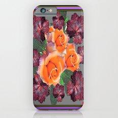 Black-Brown-Red Leafs golden Roses Purple Decorative Art   iPhone 6s Slim Case