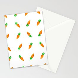 Hand painted green orange watercolor carrots pattern Stationery Cards