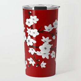 Red Black And White Cherry Blossoms Travel Mug