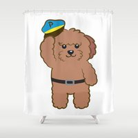 police Shower Curtains featuring Poodle Police by Ball Ball and friends