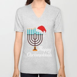 Happy Chrismukkah Hanukkah Jewish Festival Gift Unisex V-Neck