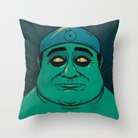 watchmen Throw Pillows featuring It's Always Sunny in Watchmen - Frank by Jessica On Paper