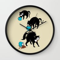 coffee Wall Clocks featuring Coffee Cat by Boots