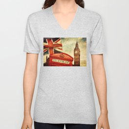 Red telephone booth and Big Ben in London, England Unisex V-Neck