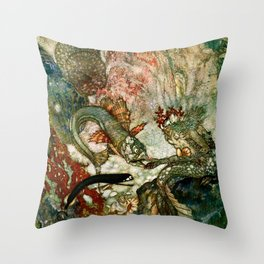"""""""King of the Mermaids"""" Fairy Tale Art by Edmund Dulac Throw Pillow"""