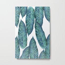 Blue Banana Leaves #society6 Metal Print