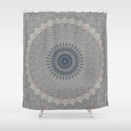 Decorative Textured Grey Blue Mandala Shower Curtain