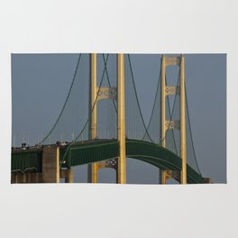 Moon and the Mackinac Bridge by the Straits of Mackinac Rug