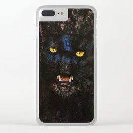 Black on Black Cat Clear iPhone Case