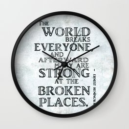 Motivational quote by Hemingway version II Wall Clock