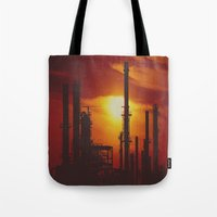 industrial Tote Bags featuring Industrial... in Red by ChristyMichellePloch.com