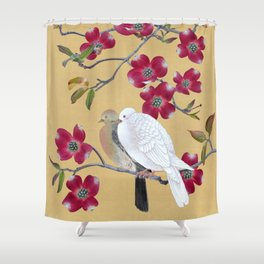 Doves in Red Dogwood Tree Shower Curtain