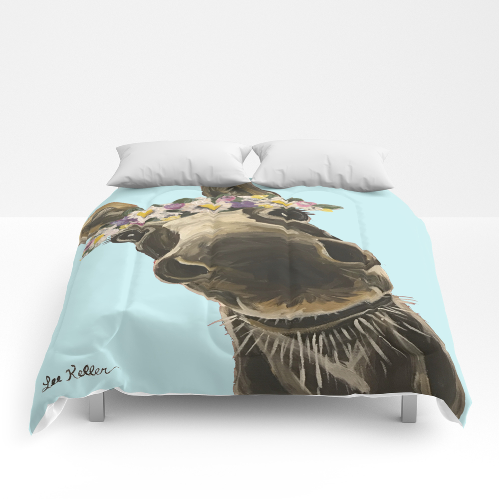 Blue Flower Crown Donkey, Donkey Art Comforter by Leekeller CMF8997462