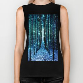 Magical Forest Teal Turquoise Biker Tank