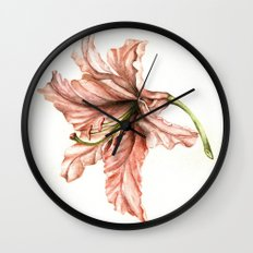 Pink Lily Flower Watercolor Wall Clock