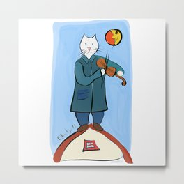 Cat Fiddler on the Roof  by Chatgall Metal Print