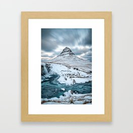 KIRKJUFELL IN WINTER - ICELAND MOUNTAIN - LANDSCAPE NATURE PHOTOGRAPHY Framed Art Print