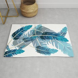 Blue feathers Rug