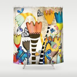 Get up, stand up - Rupydetquila Sunset Butterfies Shower Curtain