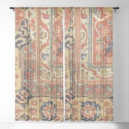 Indian Trellis II // 17th Century Ornate Medallion Red Blue Green Flowers Leaf Colorful Rug Pattern Sheer Curtain