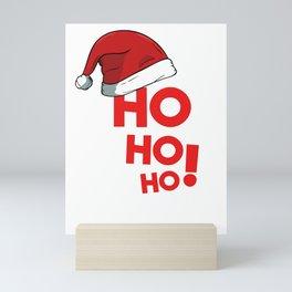 Ho Ho Ho Christmas Xmas Winter Holidays Santa Claus Hat Mini Art Print