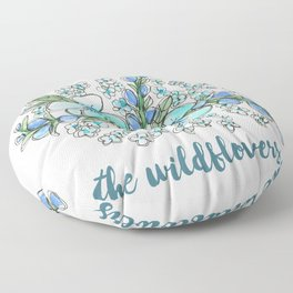 You belong among the wildflowers. Tom Petty quote. Watercolor illustration. Floor Pillow