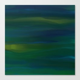 Navy, Peacock Green Abstract Canvas Print
