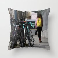 backpack Throw Pillows featuring Bikes and backpack by RMK Photography