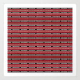 ethnic weave horizontal red Art Print