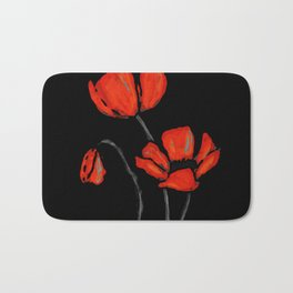 Red Poppies On Black by Sharon Cummings Bath Mat