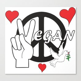 Vegan - Peace and Love Canvas Print
