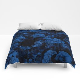 winter flowers seamless pattern 01 big dark blue Comforters