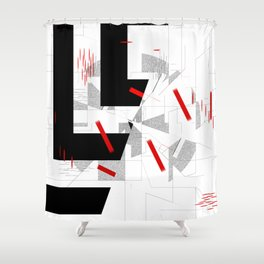 black and white meets red Version 10 Shower Curtain