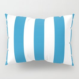 Cyan cornflower blue - solid color - white vertical lines pattern Pillow Sham