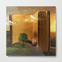 Surrealism Dream world with Book and Chair Metal Print