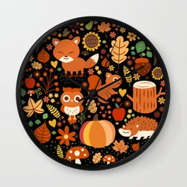 Autumn Party For Forest Friends Wall Clock