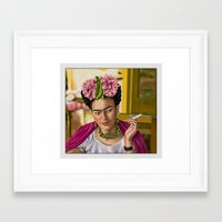 frida khalo Framed Art Prints featuring Smokin' Frida  by Rush Humphrey